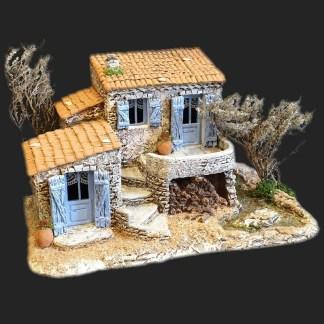 Maison de village le cabanon d'Angélique bleu – Atelier de Fanny – Santon – Santons – Décors de crèche – Aubagne – Provence – Crèche de Provence – Santon de provence.jpg