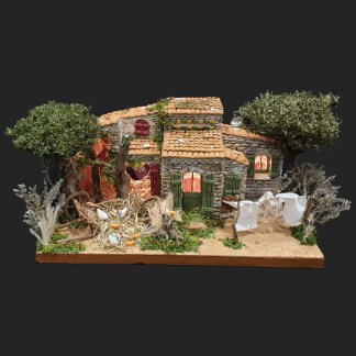 le cabanon de Marius sous les pins de méditerranée – pièce unique – Santon – décors de crèche – accessoires pour santons de provence – Atelier de Fanny – aubagne