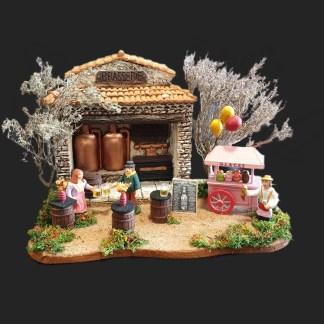 les plaisirs de l'été – pièce unique – l'atelier de Fanny – Décors de crèche – Aubagne – santons – santon de provence