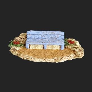 banc bleu – atelier de Fanny – Aubagne -provence – santon de provence -santon – décors de provence – décors de crèche – crèches de Provence- accessoire de Provence -artisan – made in france – france