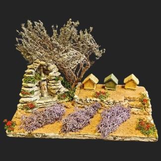 Scénette Fontaine aux prières avec ruches et lavandes de provence-  Aubagne -provence – santon de provence -santon – décors de provence – décors de crèche – crèches de Provence- accessoire de Provence -artisan – made in france – france