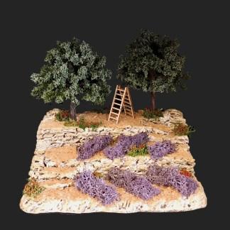 restanques oliviers et lavandes- atelier de fanny – décors de crèche – aubagne – santons 7 cm