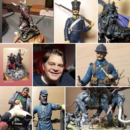 Photo de peinture de figurines de jeux ou de vitrine.