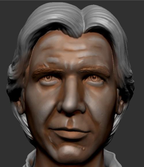 peinture des dernière lumières du visage de figurine