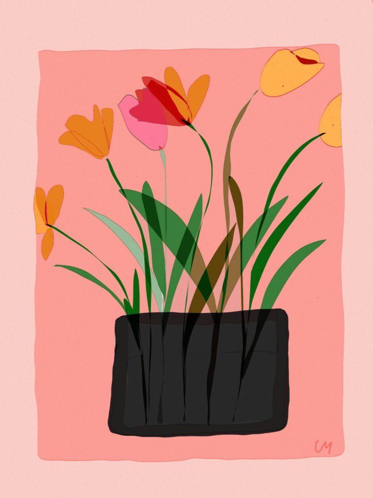 Vase aux tulipes carte postale de créateur/atelier Mallaval Agde