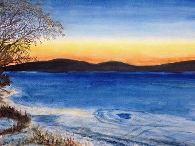 aquarel sneeuwlandschap