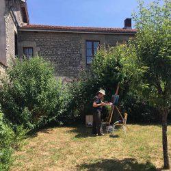 schilderen in de tuin