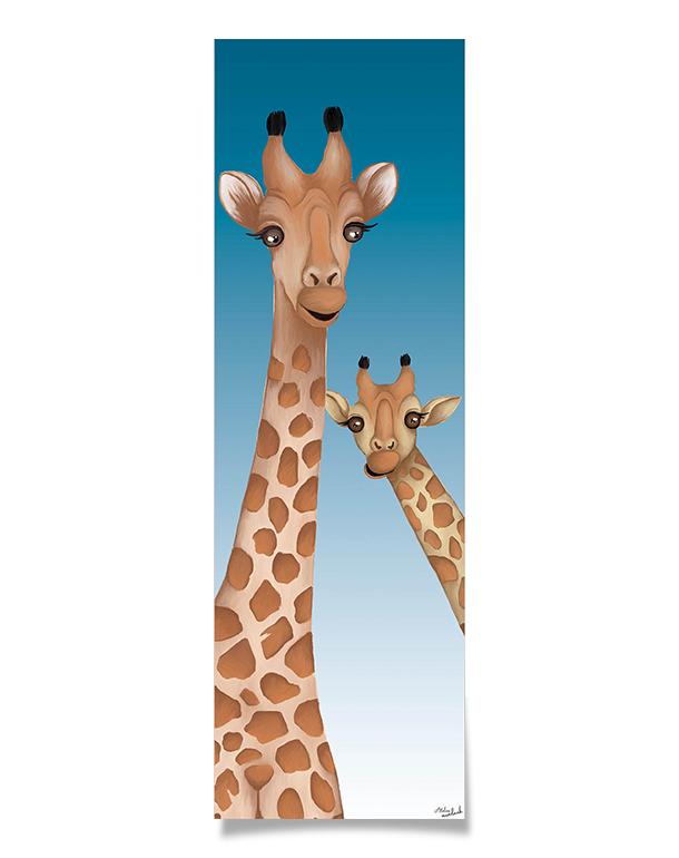 affiche-decoration-coloree-enfant-girafes-140x45