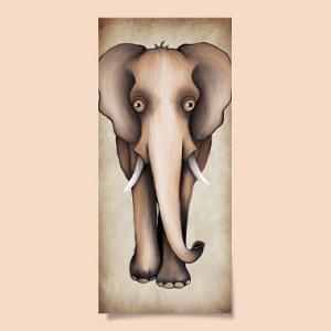 tableau-décoration-affiche-enfant-éléphant-beige-papier-aluminium