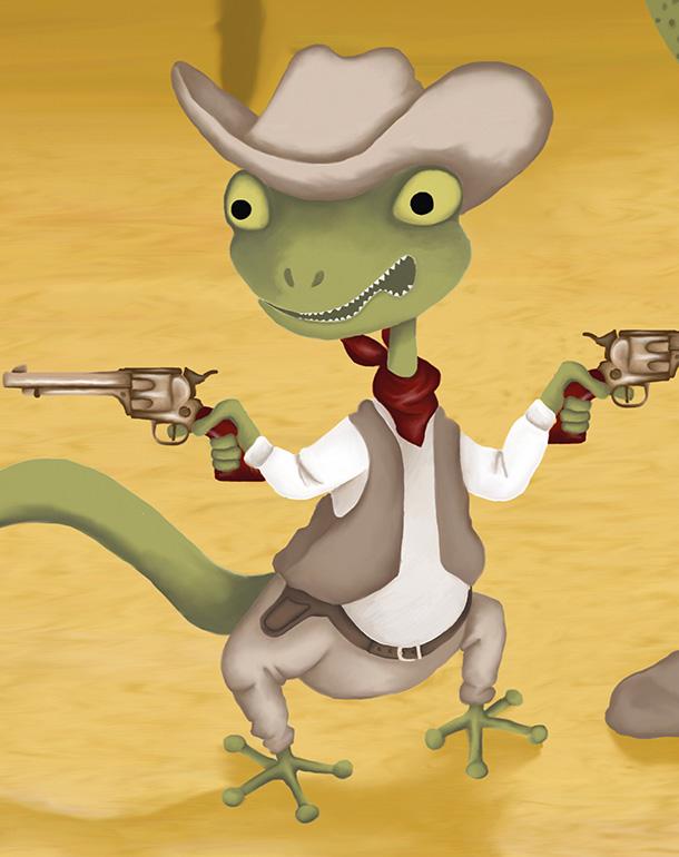 zoom-affiche-tableau-lézard-enfant-décoration-désert-farwest-cowboy