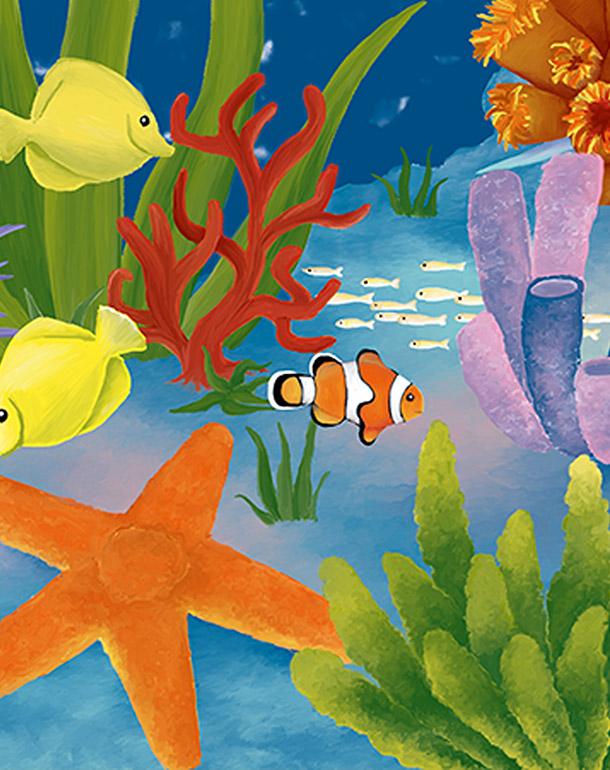 zoom-tableau-affiche-décoration-enfant-récif-aquarieum-poissons
