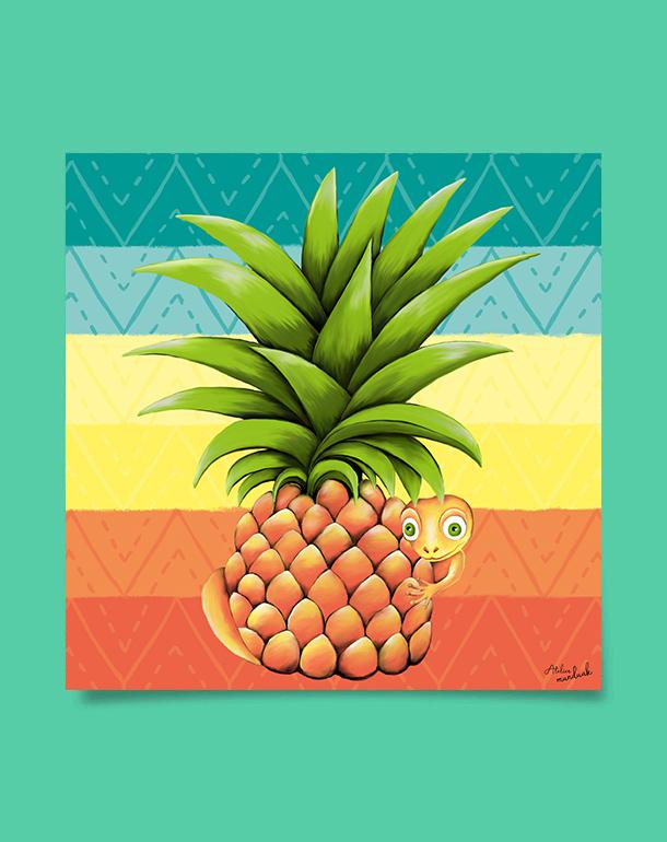 tableau-affiche-décoration-ananas-lézad-salamandre-motifs-ethnique