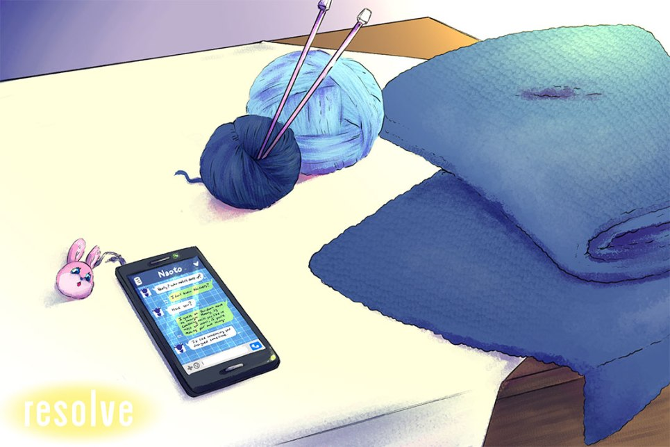 Cover of Resolve. It shows Kanji's table that has a knitting project laid out. It's a blue blanket. His phone is also there, showing messages from Naoto.