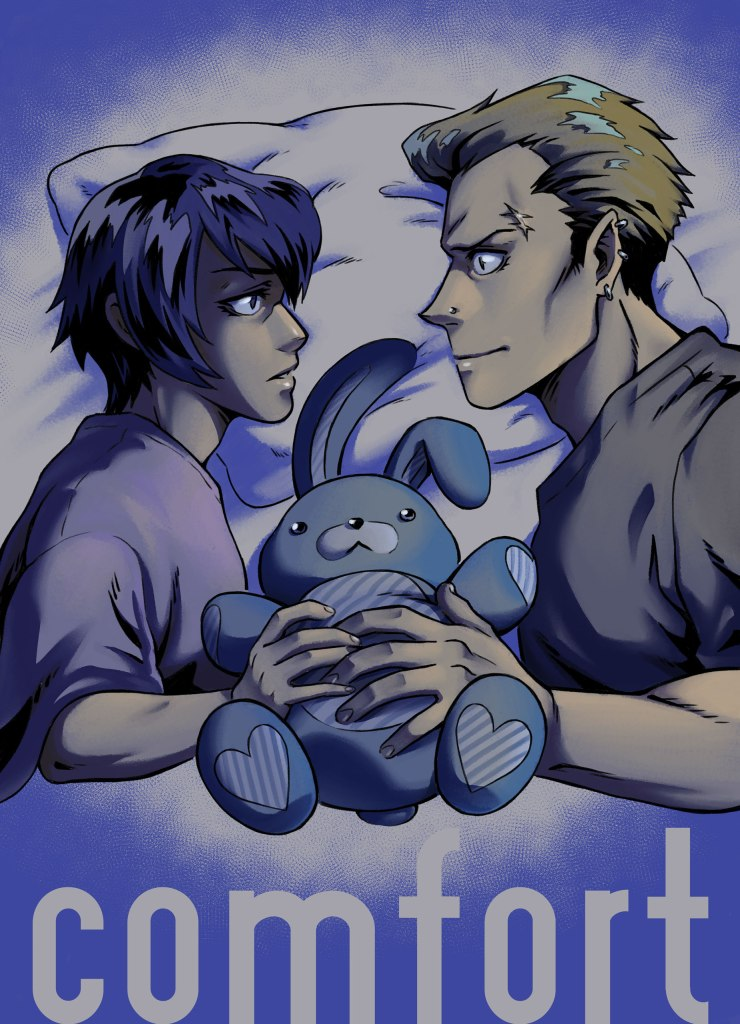Cover of our Kannao comic, Comfort, featuring Kanji and Naoto sharing a bed. They're facing each other, looking unsure and holding a stuffed bunny doll between them.