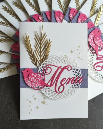 Carte de menu première communion profession de foi par Marie Meyer Stampin up - http://ateliers-scrapbooking.fr/
