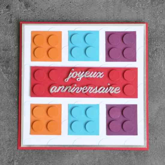 Carte LEGO anniversaire par Marie Meyer Stampin up - http://ateliers-scrapbooking.fr/