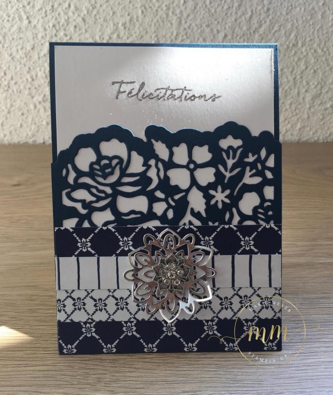 Carte de félicitation de mariage pop up twist Fleurs ouvragées par Marie Meyer Stampin up - http://ateliers-scrapbooking.fr/ - Detailed Floral Thinlits - Flourish Thinlits - Thinlits Florale Fantasie - Thinlits Blütenpoesie