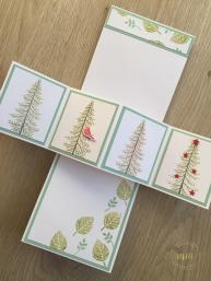 Tutoriel carte pop up twist Entre les branches par Marie Meyer Stampin up - http://ateliers-scrapbooking.fr/ - Thoughtful Branches Stamp set - Here's to Cheers Stamp set - Nette Etiketten Stempel