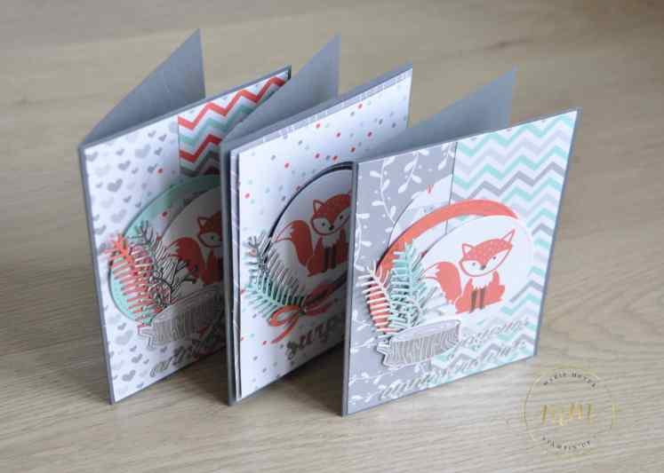 Cartes d'anniversaire Foxy Friends par Marie Meyer Stampin up - http://ateliers-scrapbooking.fr/ - Fox Friens Stamp - Stempelset Foxy Friends