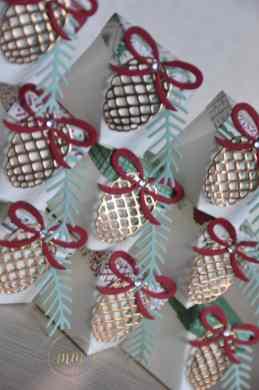 Carte de Noël et boîtes diamant et son tutoriel Thinlits Branches et pommes de pins par Marie Meyer Stampin up - http://ateliers-scrapbooking.fr/ - Pretty Pines Thinlits Dies - Tannen und Zapfen Thinlits Formen