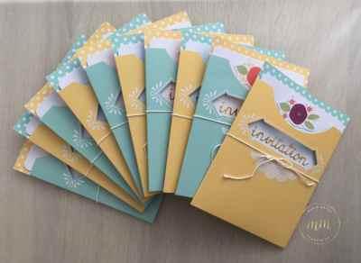 Cartes d'invitations anniversaire Kit pour Cartes Jolie pochette par Marie Meyer Stampin up - http://ateliers-scrapbooking.fr/ - Pretty Pocket Card Kit - Kartenset kreativ kuvertiert