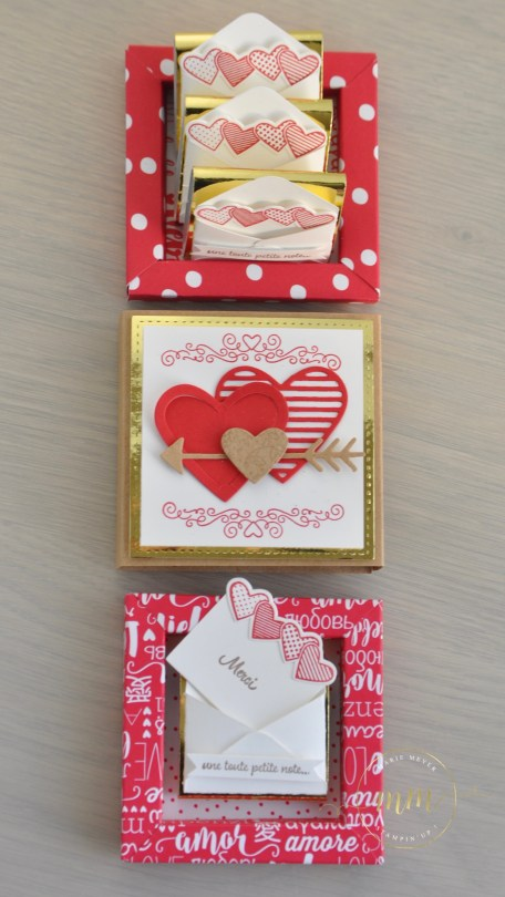 Boîtes d'allumettes cadre pour la Saint Valentin avec le lot de tampons scellée d'un baiser, Framelits Mots d'amour et Framelits Forme à coudre et son tutoriel par Marie Meyer Stampin up - http://ateliers-scrapbooking.fr/ - Love Notes framelits dies - Stitched Shapes Framelits Dies - Sending Love Designer Series Paper Stack - Sealed With Love Stamp Set - Mit Gruß Und Kuss stemp set- Liebesgrüße Framelits Dies