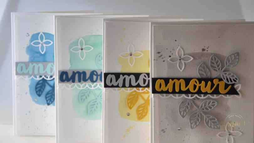 Cartes aquarelles Thinlits Voeux ensoleillés et Thinlits En fleurs par Marie Meyer Stampin up - http://ateliers-scrapbooking.fr/ - Flourish Thinlits Dies - Sunshine Wishes Thinlits Dies - Thinlits Blütenpoesie - Thinlits Grüße voller Sonnenschein