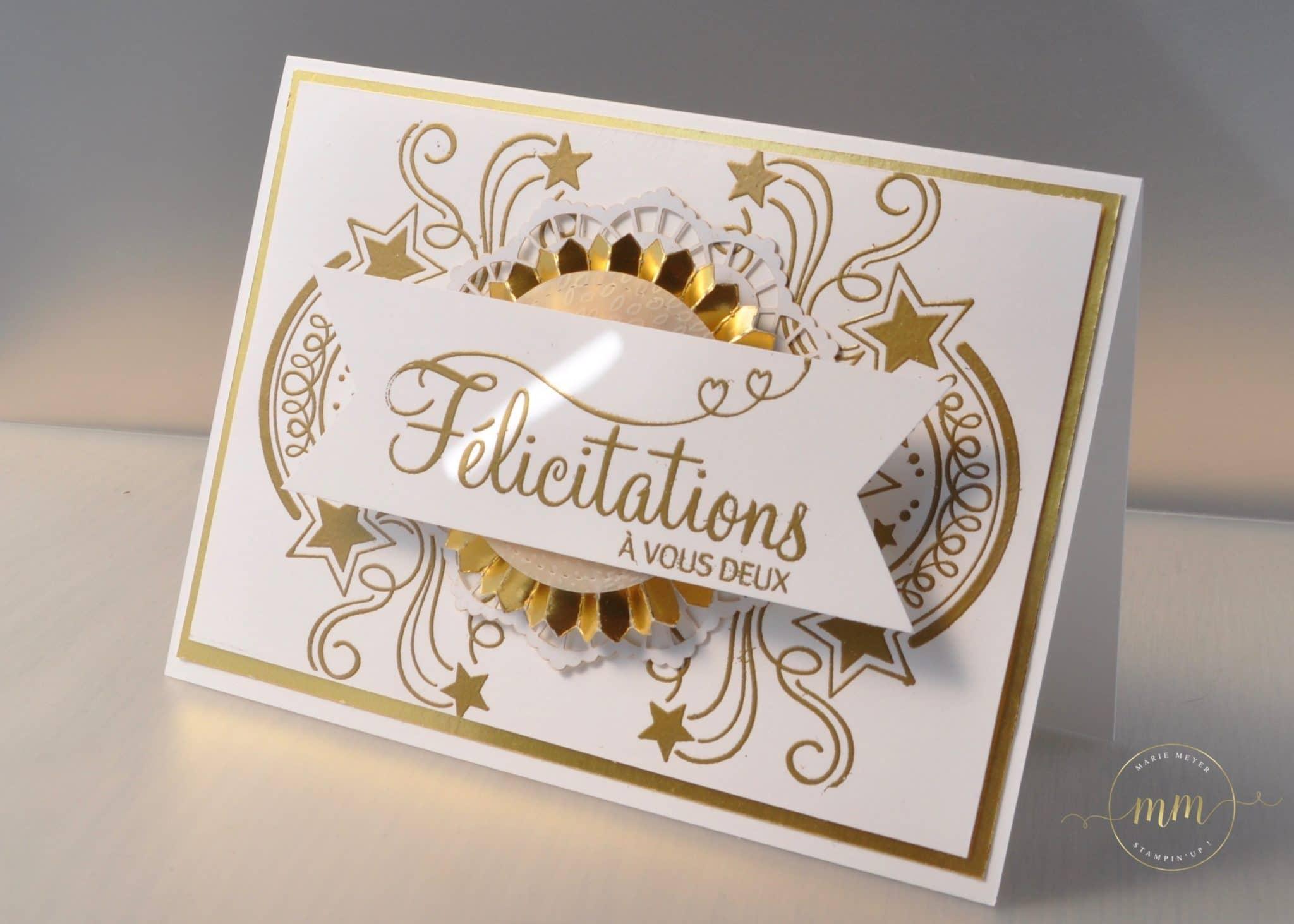 Carte De Félicitation Pour Des Noces Dor Fête Endiablée