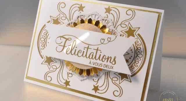 Carte de félicitation pour des Noces d'or Fête endiablée avec le set de tampon Fête endiablée et Edgelits Etoiles détonantes par Marie Meyer Stampin up - http://ateliers-scrapbooking.fr/ - Birthday Blast Stamp Set - Star Blast Edgelits Dies - Geburtstagsfeuerwerk Stamp Set - Edgelits Formen Sternenfeuer
