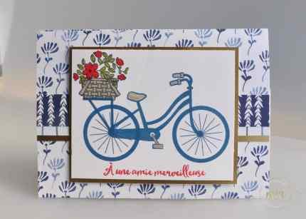 Carte cadeau Bike ride et Framelits vélo à assembler et son tutoriel par Marie Meyer Stampin up - http://ateliers-scrapbooking.fr/ - Magic card - Bike Ride Stamp - Framelits Build a Bike - Magie Karte - Bike Ride Stempel - Framelits Fahrrad