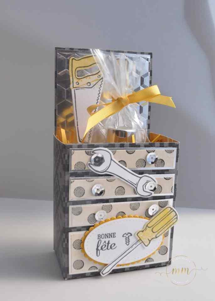 Carte et boîte pour la fête des pères Framelits pour bricoler avec son tutoriel par Marie Meyer Stampin up - http://ateliers-scrapbooking.fr/ - Father's day card - Nailed it stamp set and Build It framelits - Tageskarte Väter – Hammer Stempel - Framelits Formen Werkzeugkasten