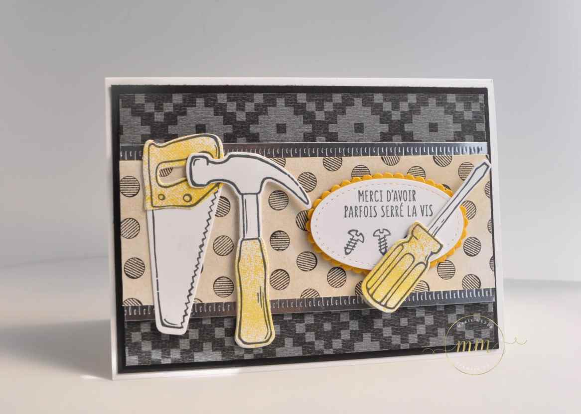 Carte et boîte pour la fête des pères Framelits pour bricoler avec son tutoriel par Marie Meyer Stampin up - http://ateliers-scrapbooking.fr/ - Father's day card - Nailed it stamp set and Build It framelits - Tageskarte Väter – Hammer Stempel - Framelits Formen Werkzeugkasten