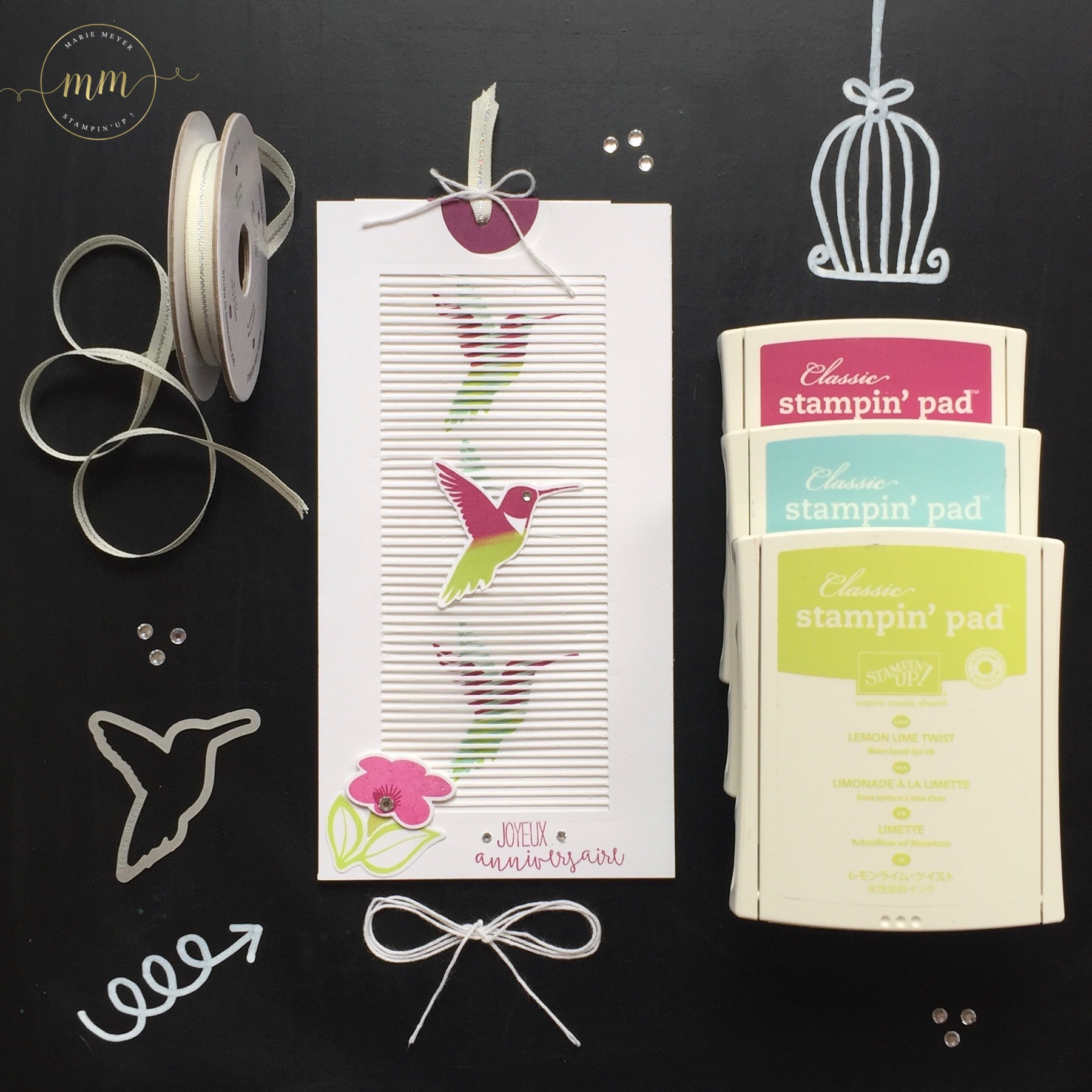 Carte d'anniversaire interactive Thinlits en mouvement et set de tampon You Move Me par Marie Meyer Stampin up - http://ateliers-scrapbooking.fr/ - Interactive card Move Me Thinlits - Interaktive Karte Thinlits Flatterhaft