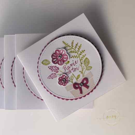 Cartes de remerciements Planté par amour par par Marie Meyer Stampin up - http://ateliers-scrapbooking.fr/ - Grown With Love - Ans Herz Gewachsen Stamp Set