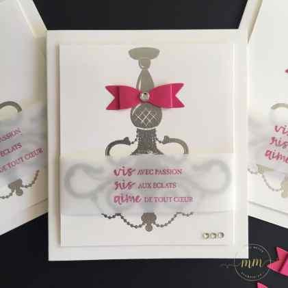 Cartes pour la Journée Mondiale de la carterie – Set de tampons Fêtes brillantes, Set de tampons Resplendissante, Thinlits Lustre par Marie Meyer Stampin up - http://ateliers-scrapbooking.fr/ - Word Card Making Day, Season To Sparkle Stamp Set, Beautiful You Stamp Set Chandelier Thinlits Dies -Weltkartenbasteltag, Festliche Grüße Stempel, Mit Stil Stempel, Kronleuchter Thinlits Formen