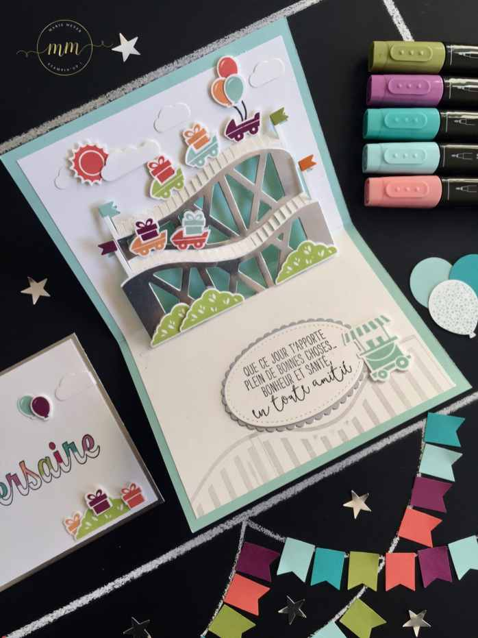 Carte 3D dépliable Vie trépidante Thinlits Grand frisson, cartes pop up, Framelits Formes à coudres, Framelits Pyramides d'ovales, Set de tampon Pour ton anniversaire, Set de tampons Vie trépidante, Stampin'Blends markers, Tutoriels par Marie Meyer Stampin up - http://ateliers-scrapbooking.fr - Let The Good Times Roll Card, Stitched Shapes Framelits, Framelits, Birthday Wishes For You Stamp set - Hochgefühle Karte, Framelits Stick muster, Framelits Lagenweise Ovale, Geburtstagswünsche Für Dich