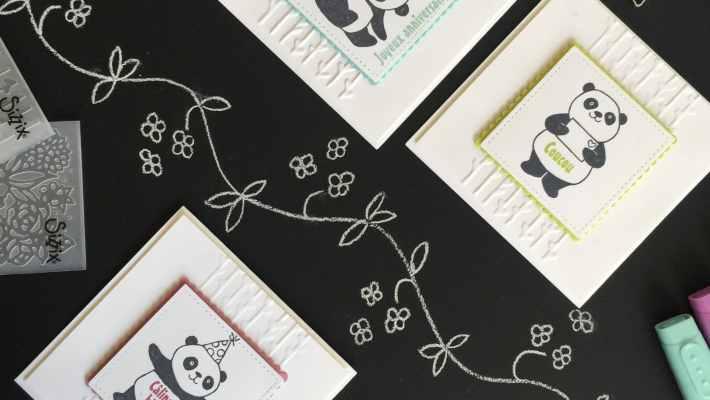 Cartes anniversaire Pandas festifs, Framelits Forme à coudre, Framelits Pyramide de carrés, sale a bration par Marie Meyer Stampin up - http://ateliers-scrapbooking.fr - Happy birthday Card Party Pandas, Stiched Shapes Framelits, Layering Squares Framelits - Gluckwunsch Karte Party Pandas, Framelits Stickmuster, Framelits Lagenweise Quadrate
