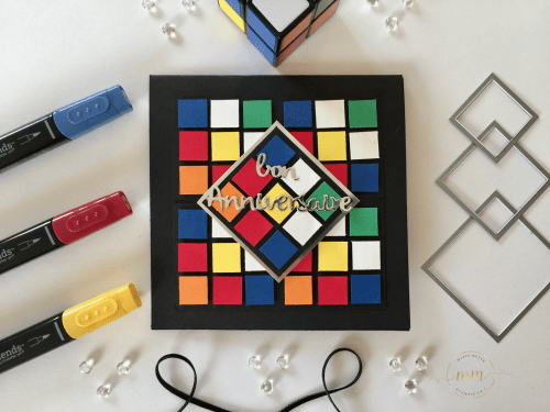 Carte anniversaire pop up Rubik's cube et son tutoriel par Marie Meyer Stampin up - http://ateliers-scrapbooking.fr – Tutorial Birthday Rubik's cube pop up card – Geburtstag Rubik's cube pop up karte Anteilung
