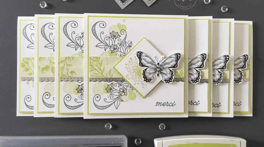 Cartes de remerciements Abondance de beauté - Framelits couture Offre-moi ton coeur, Framelits Formes à coudre, Framelits Pyramide de carrés, Papier Design Papillon botanique, Perforatrice Papillons en duo, Set de tampons Abondance de beauté, Set de tampons Gala de papillons par Marie Meyer Stampin'up - http://ateliers-scrapbooking.fr