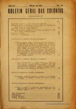 Boletim Geral das Colónias – Ano 16.ª – Março de 1940 – N.º 177 – Agencia Geral das Colónias – Lisboa – 1940. Desc. 130 pág. / 22,5 cm x 16 cm / Br «€12,50»