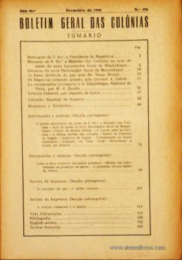 Boletim Geral das Colónias – Ano 16.ª – Fevereiro de 1940 – N.º 176 – Agencia Geral das Colónias – Lisboa – 1940. Desc. 148 pág. / 22,5 cm x 16 cm / Br «€12,50»