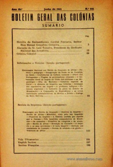 Boletim Geral das Colónias – Ano 19.ª – Junho de 1943 – N.º216 – Agencia Geral das Colónias – Lisboa – 1943. Desc. 200 pág. / 22,5 cm x 16 cm / Br «€12,50»