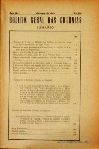 Boletim Geral das Colónias – Ano 19.ª – Outubro de 1943 – N.º220 – Agencia Geral das Colónias – Lisboa – 1943. Desc. 280 pág. / 22,5 cm x 16 cm / Br «€15,00»