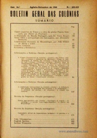 Boletim Geral das Colónias – Ano 17.ª – Fevereiro de 1941 – N.º188 – Agencia Geral das Colónias – Lisboa – 1941. Desc. 160 pág. / 22,5 cm x 16 cm / Br «€12,50»