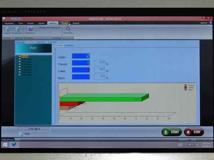 Hydra Silver Leak Tester displaying Winateq 300 bar graph screen