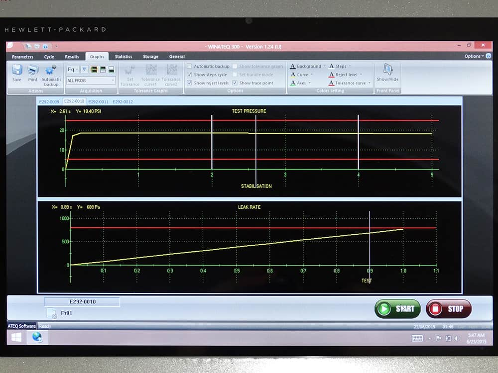 Hydra Silver Leak Tester displaying Winateq 300 graphing screen