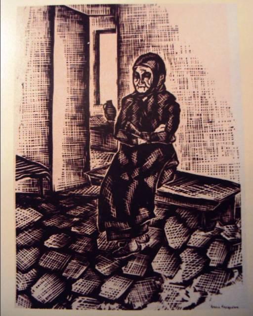 Αντώνης Καραγιάννης: Η μάνα του κρατούμενου, χαρακτικό