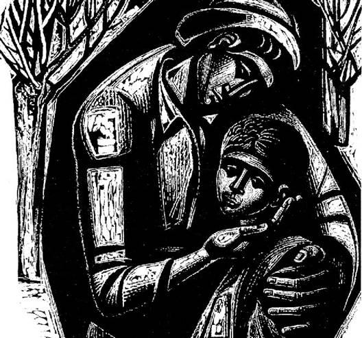 «Μάνα με παιδί» (1963), του Α. Τάσσου. Ξυλογραφία σε πλάγιο ξύλο