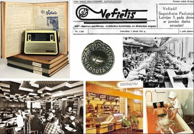Πάνω: «Βεφίτης», η εφημερίδα των εργαζομένων στο εργοστάσιο VEF Κάτω: Χώροι εστίασης μέσα στο εργοστάσιο και ιατρικές παροχές στους εργαζόμενους, την περίοδο του σοσιαλισμού