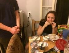 Milena enjoying bagel madness.